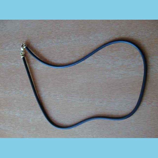 Gummi Halskæde 60 cm med guld dublet