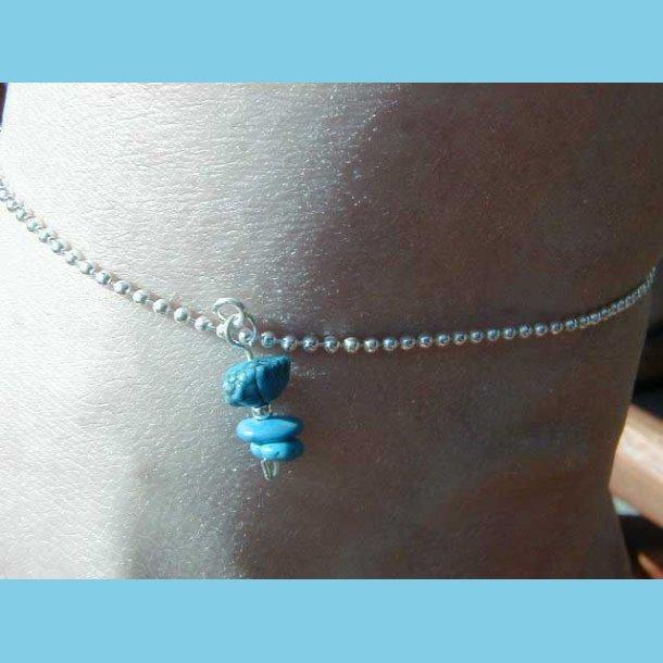 Ankelkæde med blå sten
