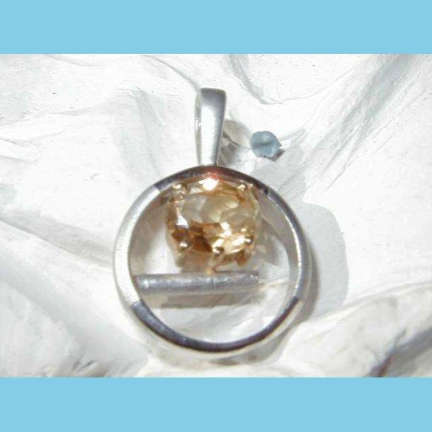 Sølv vedhæng Citrin med 24 K guldkrone