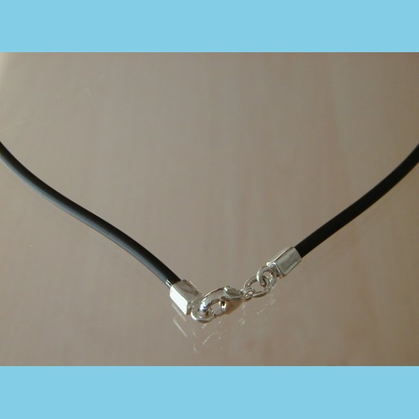 Gummi Halskæde med sølv 42 cm