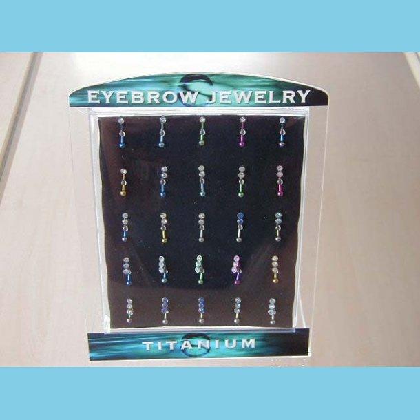 Display med 25 øjenbrynsmykker i titanium